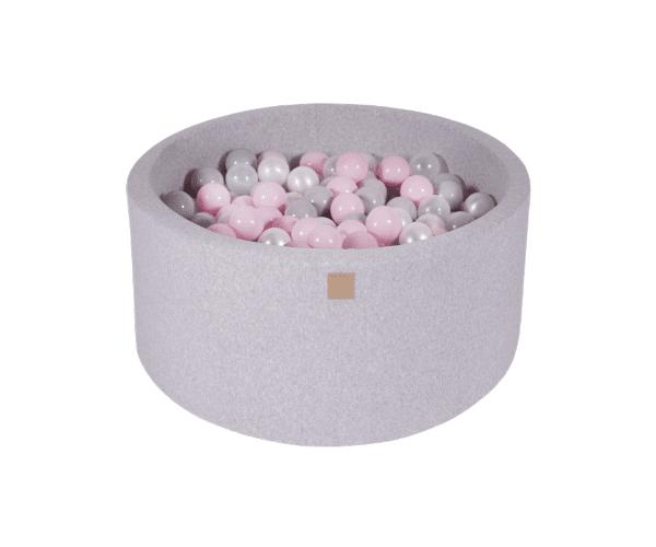 Pallimeri ümmargune Meow 90/40cm + 300 palli (helehall-roosa mix)