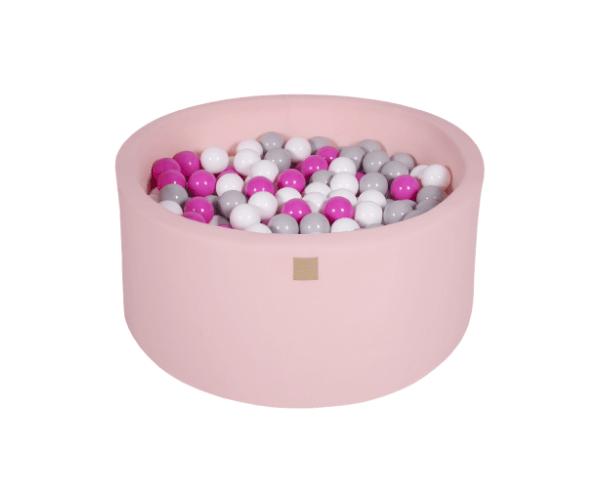 Pallimeri ümmargune Meow 90/40cm + 300 palli (roosa-erkroosa mix)