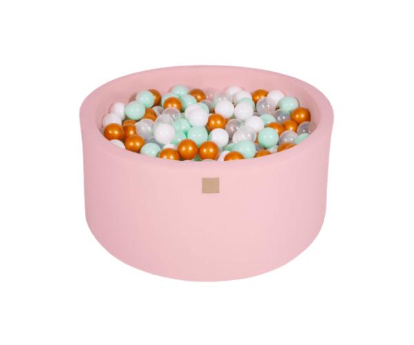 Pallimeri ümmargune Meow 90/40cm + 300 palli (roosa-kuldne mix)