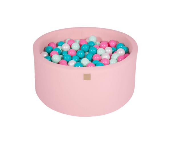 Pallimeri ümmargune Meow 90/40cm + 300 palli (roosa-mint mix)