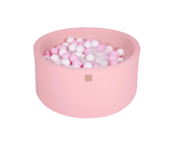Pallimeri ümmargune Meow 90/40cm + 300 palli (roosa-õrnroosa mix)