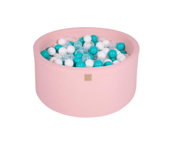 Pallimeri ümmargune Meow 90/40cm + 300 palli (roosa-türkiis mix)