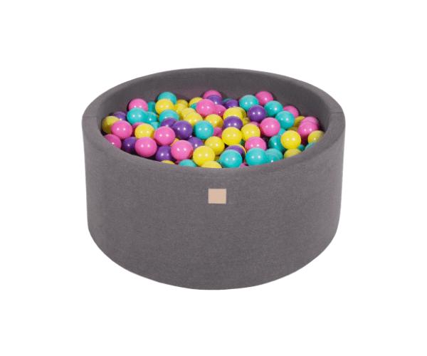 Pallimeri ümmargune Meow 90/40cm + 300 palli (tumehall-värvi mix)