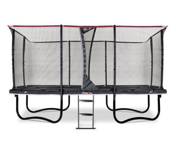 EXIT batuut 'PeakPro' 305x519 cm + ohutusvõrk, vedrukate ja redel, must