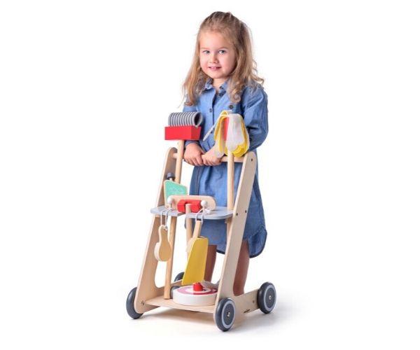 Laste puidust koristuskomplekt (käru) + 6 tarvikut_1