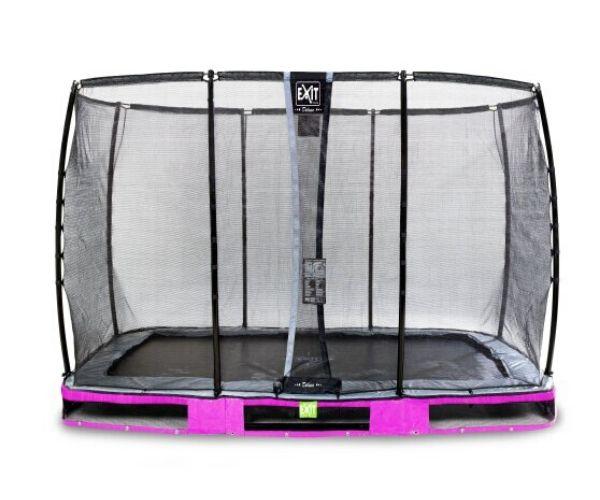 EXIT batuut maapinnale 'Elegant Premium' 214x366cm + ohutusvõrk Deluxe + vedrukate, lilla