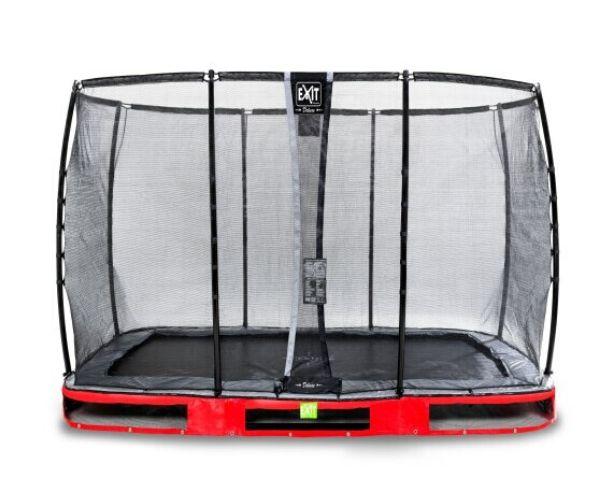 EXIT batuut maapinnale 'Elegant Premium' 214x366cm + ohutusvõrk Deluxe + vedrukate, punane