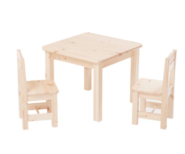 Täispuidust lastelaud ja toolid (2tk) 'Rubi', naturaalne (lakitud)