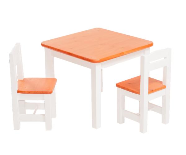 Täispuidust lastelaud ja toolid (2tk) 'Rubi', valge-oranž