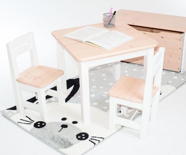 Täispuidust laste laud ja toolid Rubi, roosa-valge