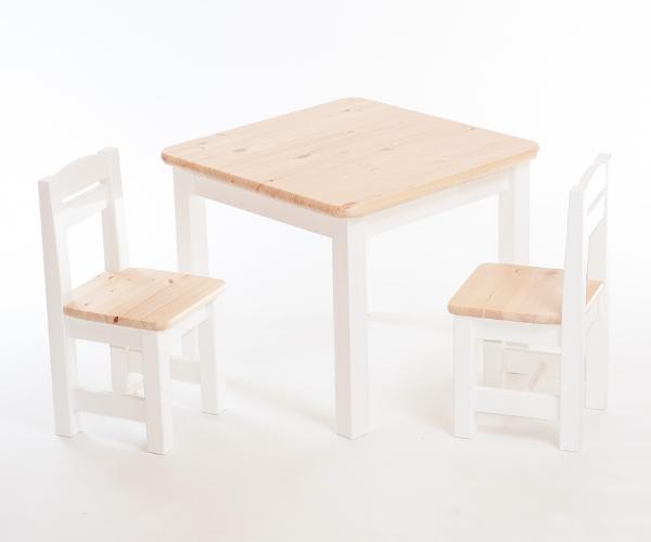 Täispuidust laste laud ja toolid_Rubi_naturaalne ja valge