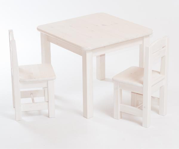 Täispuidust laste laud ja toolid_Rubi_valge peits