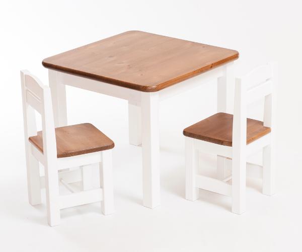 Täispuidust laste laud ja toolid_Rubi_helepruun ja valge
