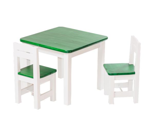 Täispuidust lastelaud ja toolid (2tk) 'Rubi', valge-roheline