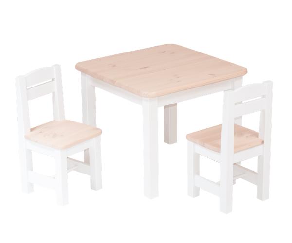 Täispuidust lastelaud ja toolid (2tk) 'Rubi', valge-roosa
