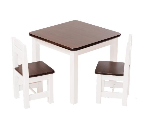Täispuidust lastelaud ja toolid (2tk) 'Rubi', valge-tumepruun
