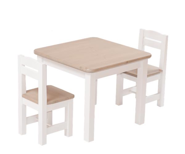 Täispuidust lastelaud ja toolid (2tk) 'Rubi', valge-hall