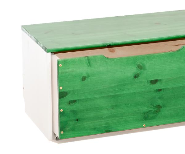 Täispuidust mänguasjakast 'Rubi', valge-roheline