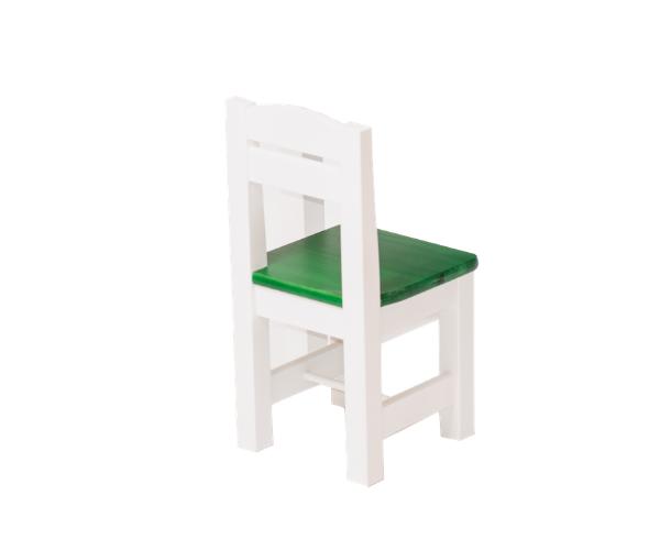 Täispuidust lastetool 'Rubi', valge-roheline