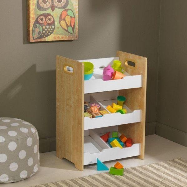 KidKraft mänguasjade riiul 'Angled Bin Unit', naturaalne-valge