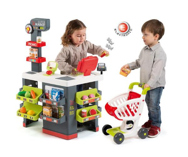 Smoby elektrooniline mängupood ostukäruga + 42 tarvikut