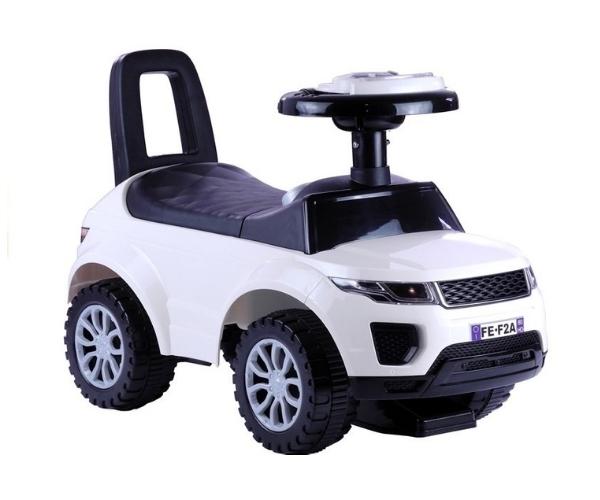 Pealeistutav tõukeauto Land Rover valguse ja helidega, valge