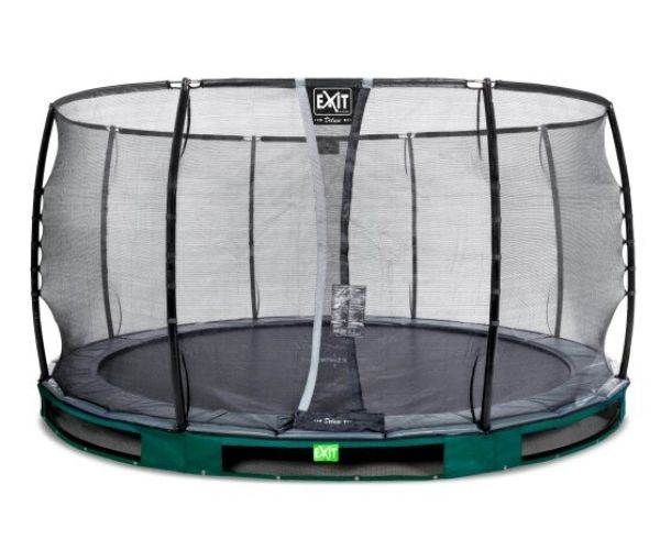 EXIT batuut maapinnale 'Elegant Premium' Ø427cm + ohutusvõrk Deluxe + vedrukate, roheline