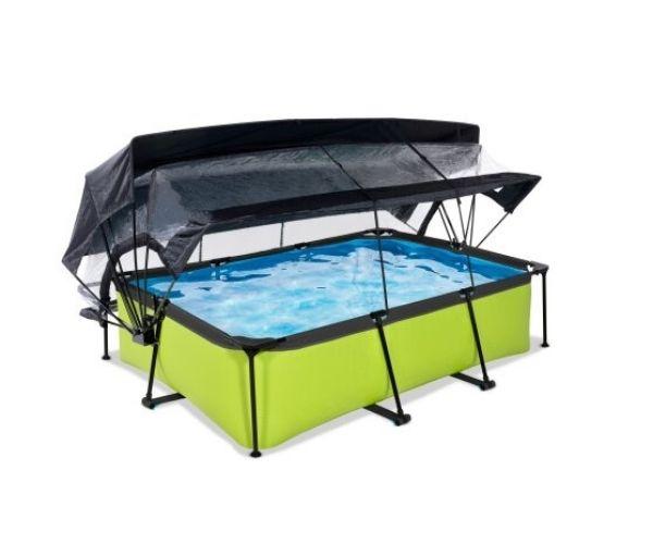 Katuse ja päikesevarjuga välibassein EXIT 'Lime' 220x150x65cm filterpumbaga, roheline