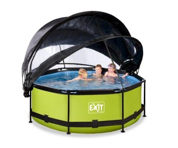 Katuse ja päikesevarjuga välibassein EXIT 'Lime' ø244x76cm filterpumbaga, roheline