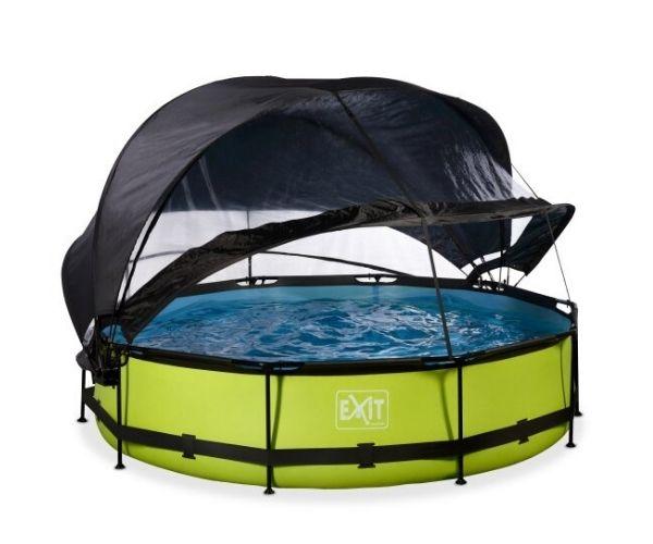 Katuse ja päikesevarjuga välibassein EXIT 'Lime' ø360x76cm filterpumbaga, roheline