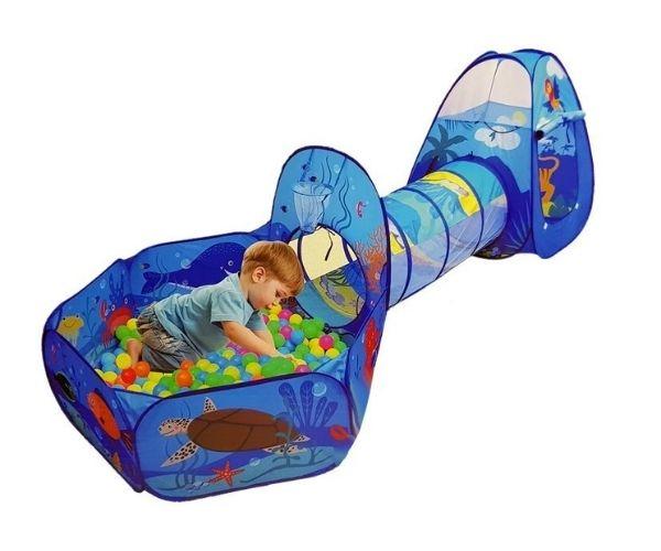 Laste mängukomplekt, telk, tunnel ja pallimeri 100 palliga