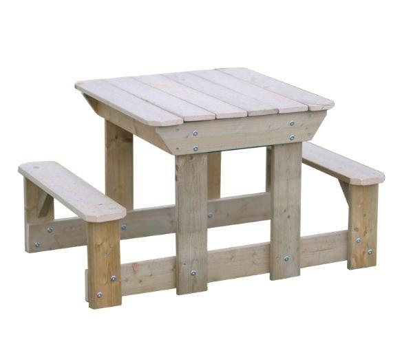 Laste piknikulaud kastidega (95x60cm) + 2 pinki