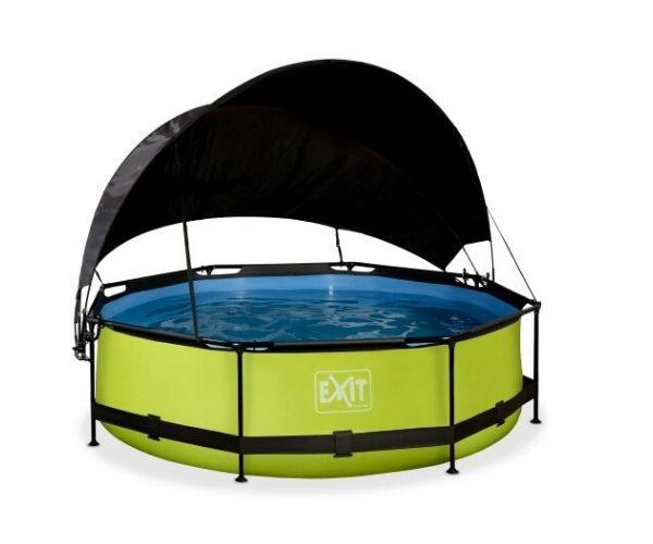 Päikesevarjuga välibassein EXIT 'Lime' ø300x76cm filterpumbaga, roheline