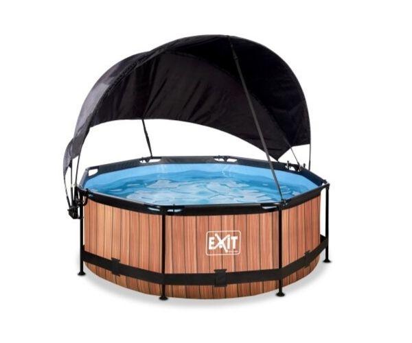 Päikesevarjuga välibassein EXIT 'Wood' ø244x76cm filterpumbaga, pruun