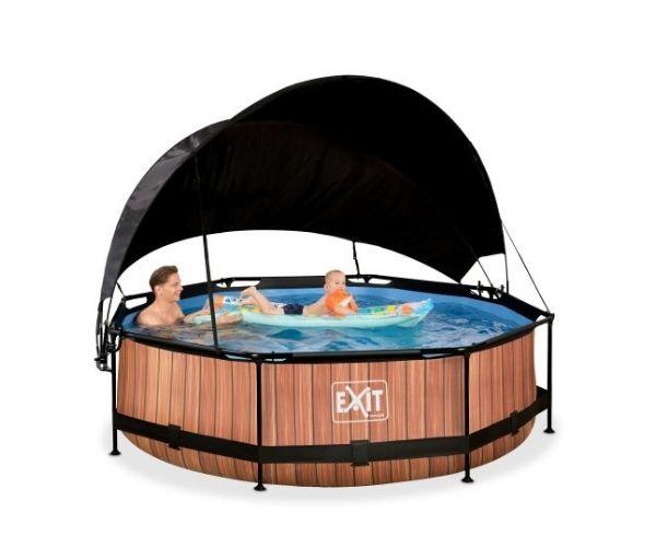 Päikesevarjuga välibassein EXIT 'Wood' ø300x76cm filterpumbaga, pruun