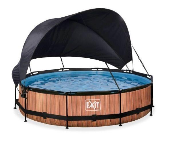 Päikesevarjuga välibassein EXIT 'Wood' ø360x76cm filterpumbaga, pruun