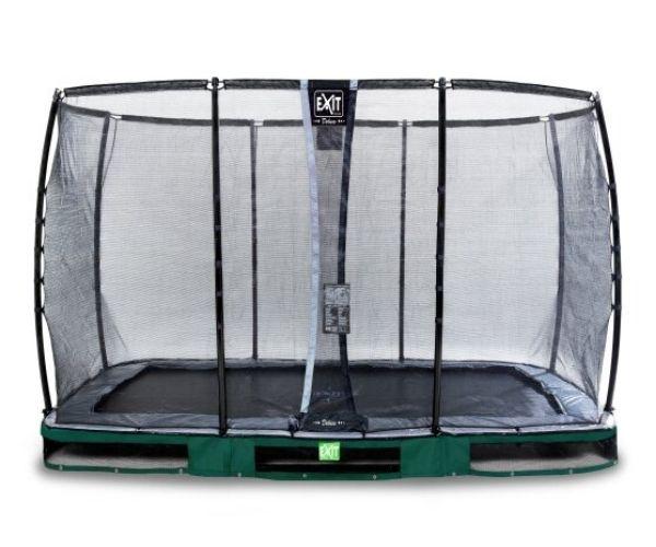 EXIT batuut maapinnale 'Elegant Premium' 244x427cm + ohutusvõrk Deluxe + vedrukate, roheline