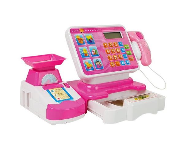 Laste elektrooniline kassaaparaat kaalu ja poekorviga, roosa_2