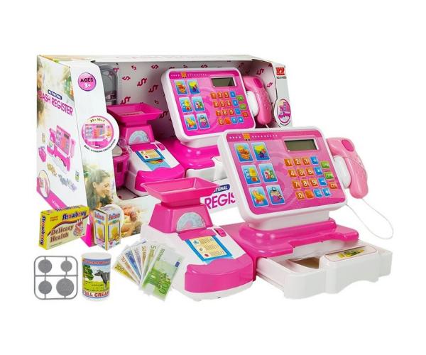 Laste elektrooniline kassaaparaat kaalu ja poekorviga, roosa