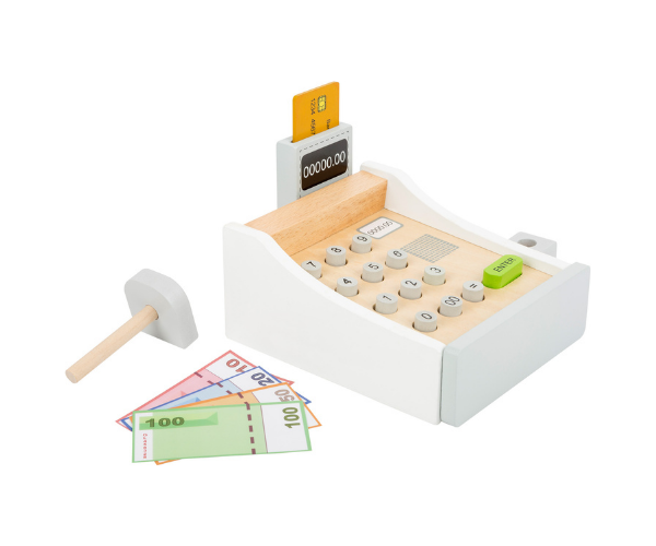 Puidust kassaaparaat raha ja kaartidega (2)