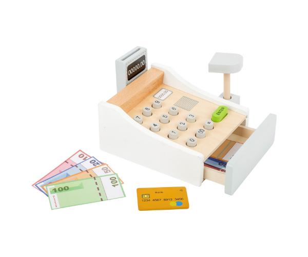 Puidust kassaaparaat raha ja kaartidega