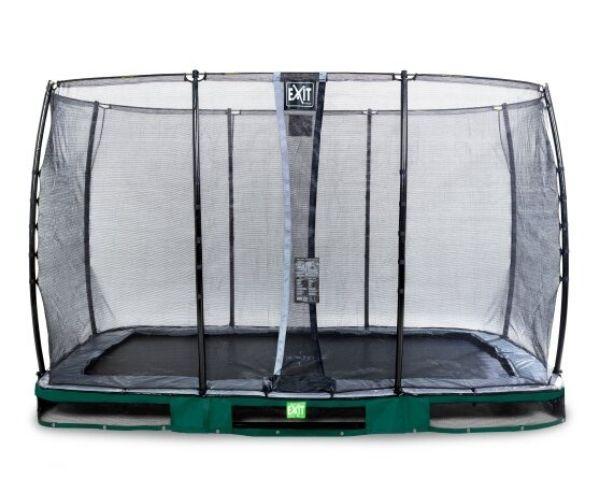 EXIT batuut maapinnale 'Elegant Standard' 244x427cm + ohutusvõrk Economy + vedrukate, roheline