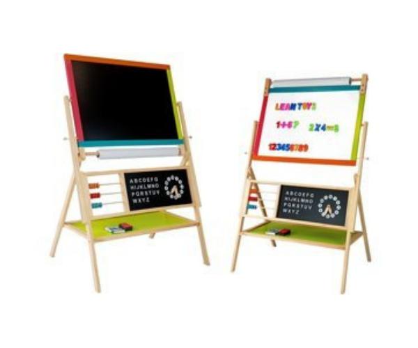Laste puidust kahepoolne kriidi- ja magnettahvel + kell, arvutuslaud, tähestik