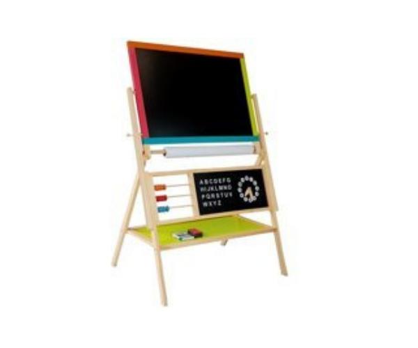 Laste puidust kahepoolne kriidi- ja magnettahvel + kell, arvutuslaud, tähestik (2)