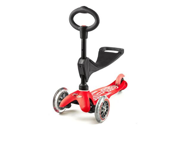 Laste tõukeratas Micro Mini Deluxe 3in1 (punane), lastele 12+ kuud