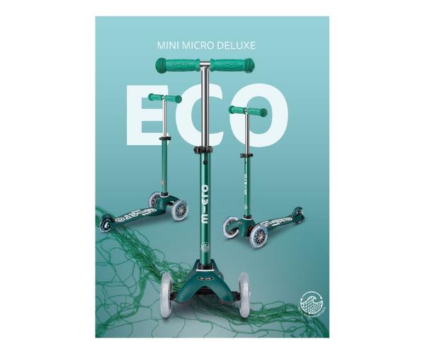 Laste tõukeratas Micro Mini Deluxe ECO (roheline), lastele 2-5 aastat (2)