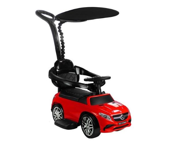 Pealeistutav auto Mercedes GLE 63 (lükkevarre ja varjuga), MP3, punane