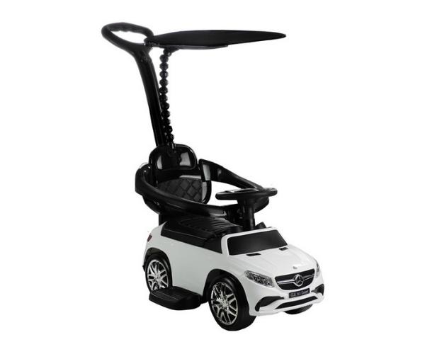 Pealeistutav auto Mercedes GLE 63 (lükkevarre ja varjuga), MP3, valge