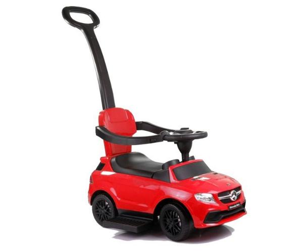 Pealeistutav auto Mercedes helidega (lükkevarrega), punane