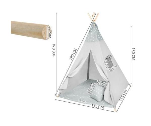 Laste täheteemaline tipi telk aknaga + 3 patja ja alusmatt (2)